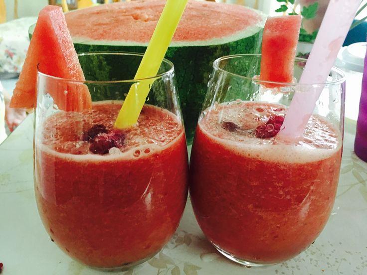 watermelon and raspberry smoothie yum