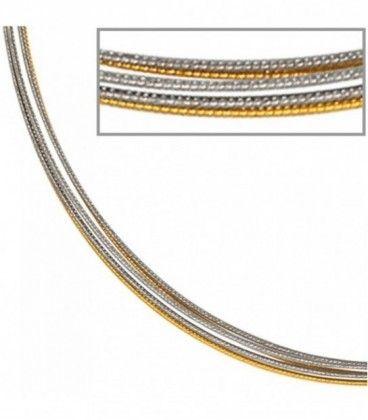Halsreif 5-reihig bicolor vergoldet - 29041 - Schmuck & Uhren Paradies