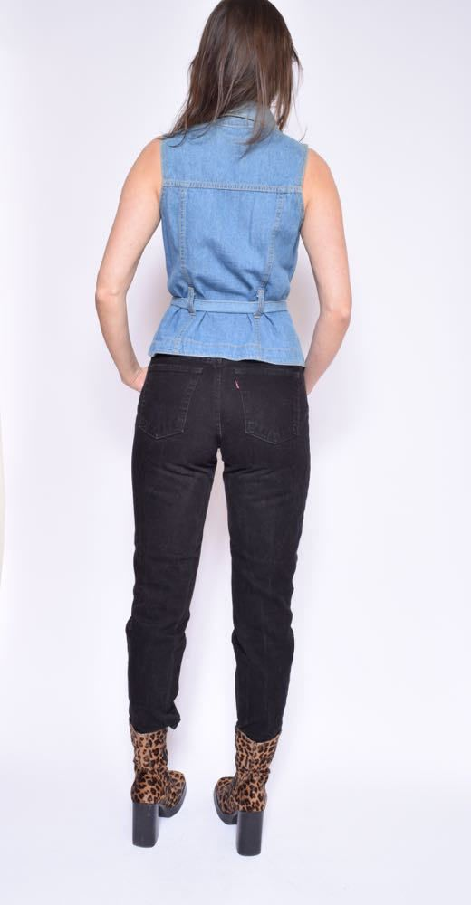 Vintage 90's Sleeveless Denim Shirt / Blue Denim Top /