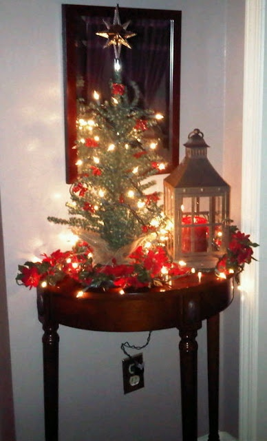 Foyer Table Christmas Decor : Foyer table decorated for christmas