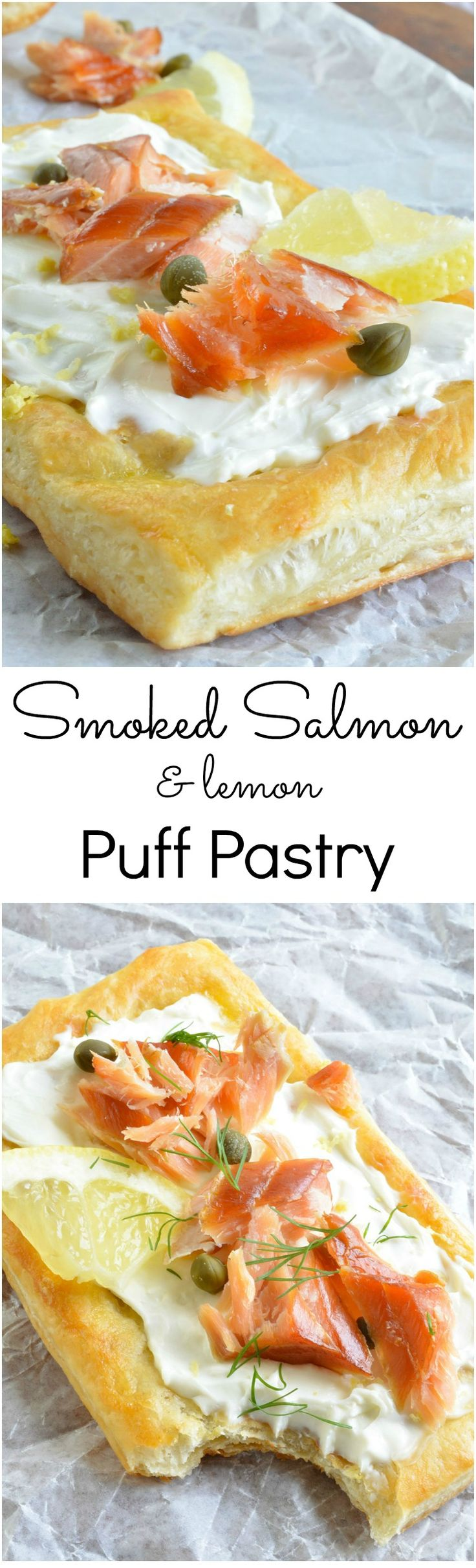 This Easy Smoked Salmon Appetizer Recipe begins with flaky puff pastry, topped with cream cheese, smoked salmon, lemon, capers and fresh dill. Perfect for an appetizer or breakfast! AD