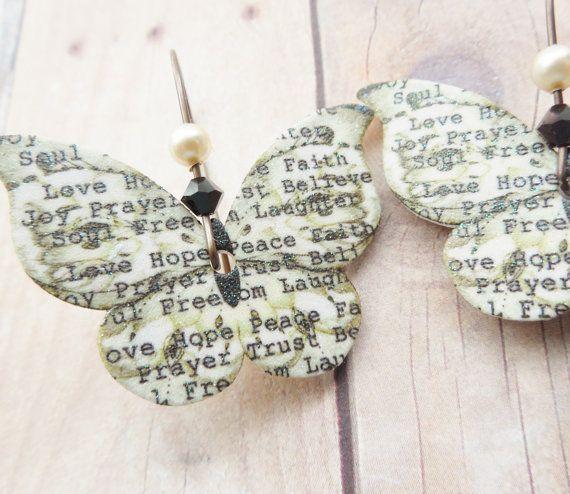 Newsprint Butterfly Earrings Plastic Shrink Art Dangle. Crystal Glitter Brass Lead Free Handmade