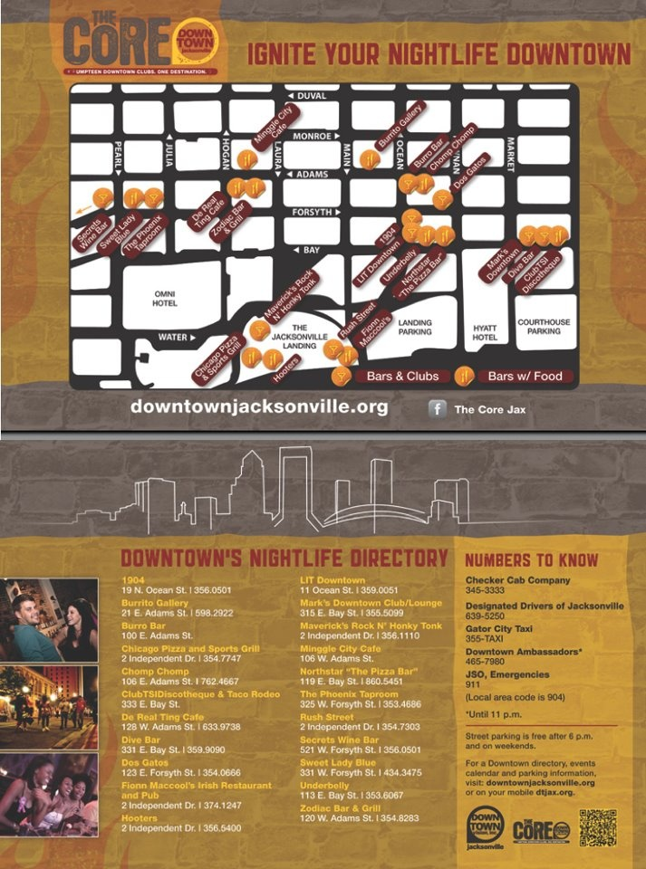 The Core- for a nightlife experience this map will help you get to the happy hour faster while in the Downtown area!