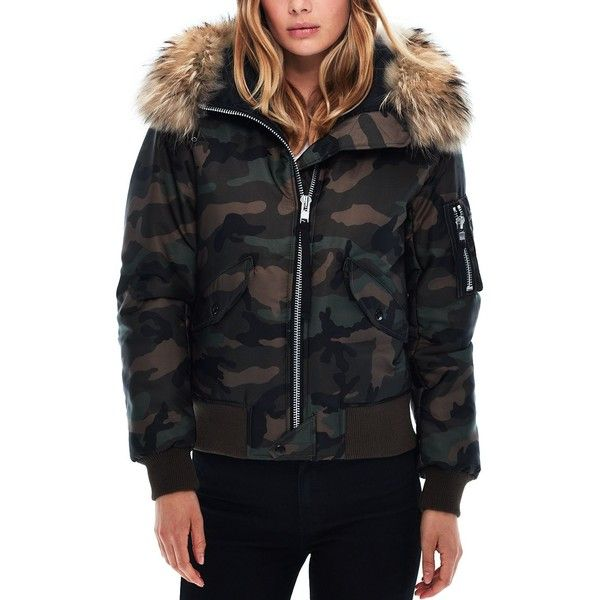 Sam. Jenny Camo Fur Trim Puffer Bomber Jacket ($690) ❤ liked on Polyvore featuring outerwear, jackets, camo, puffer bomber jacket, insulated jackets, sam jackets, flight jackets and camo bomber jacket
