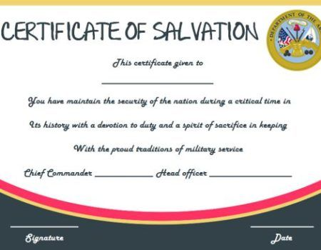 Salvation Army Certificate Of Dedication