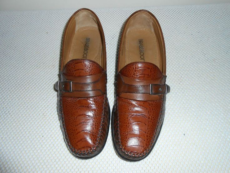 Brass Boot Menu0026#39;s Brown Reptile Print Leather Loafer Shoe Size 9.5 M #BrassBoot #LoafersSlipOns ...