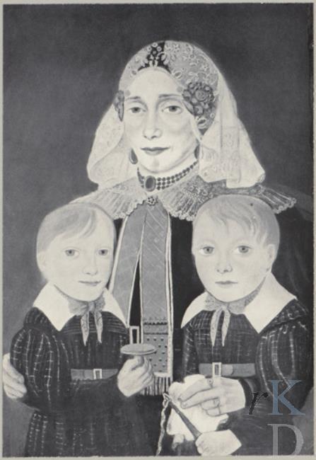 Petrus Gobbels (1782-1856) Portret van Marthjen Mulder (Rasquert 1796 - Kloosterburen 1855) met twee kinderen, mogelijk haar kinderen Niklaas (1820-1847) en Grietje Elena (1822-1833) Borgman, tweede kwart 19de eeuw (1825-1849) #Groningen
