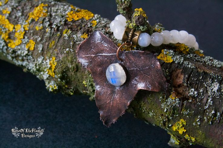 Ivy leaf bracelet. Moonstone bracelet. Real leaf jewelry. Electroformed jewelry. Electroplated. Nature inspired - pinned by pin4etsy.com