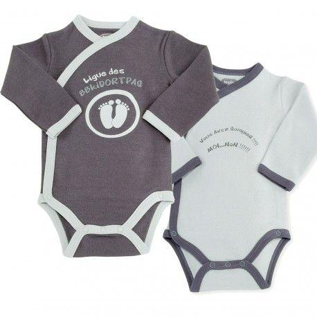 Adoptez ce lot de 2 bodies bébé super rigolos !