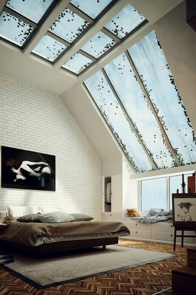 This room is pretty sweet! It has that minimalist style look to it and the windows are what make this awesome.