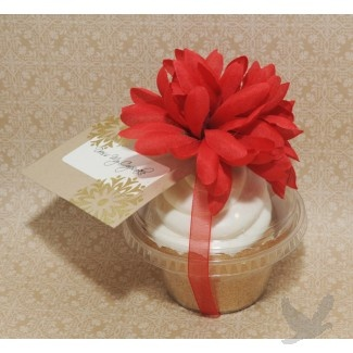 DIY Cupcake Favors: Take Cupcake Dome from Koyal Wholesale, insert cupcake, wrap with ribbon and an embellishment, add a tag, et voila! Cupcake Favors!