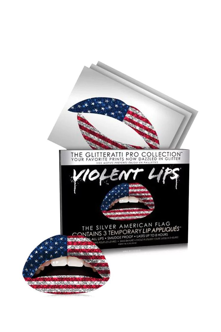 The ultimate form of self-expression, The American Flag Glitter Lip. This innovative line of temporary lip appliqués by Violent Lips™ will keep the print and color on your lips for up to 8 hours. Vitamin enhanced with a smooth feel and glossy finish, the appliqués are easy to apply to lips of all sizes. Each Violent Lips package comes with three temporary lip tattoos.