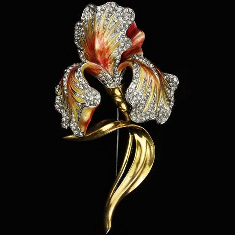 MB Boucher Gold Pave and Metallic Enamel Lily Pin