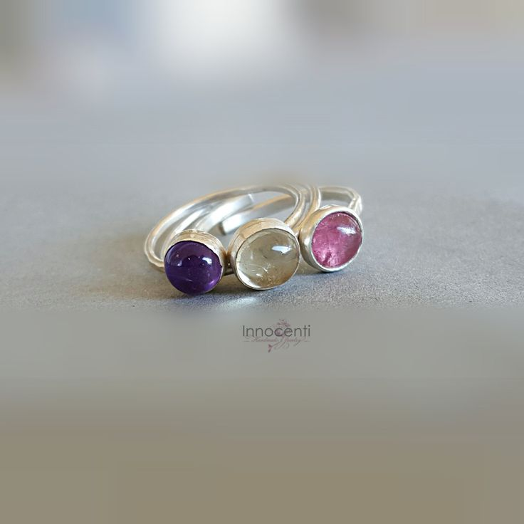 Gemstone Stack Rings Set Three Gemstone Stack Rings Silver Stack Rings Pink Tourmaline Ring Amethyst Ring Citrine Ring by INNOCENTIJEWELRY on Etsy