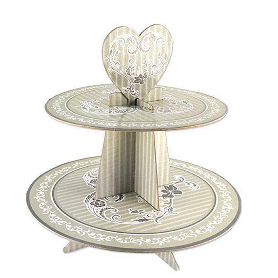 Elegant Wedding Cardboard Cupcake Stand Grey 2-Tier 11-Inch