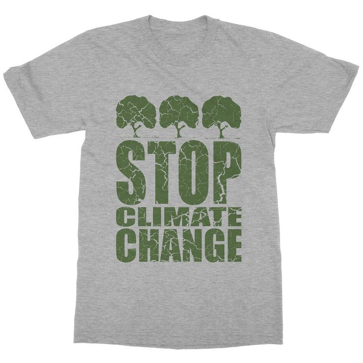 STOP CLIMATE CHANGE. Short sleeve men (unisex) t-shirt made of 100% combed and ring-spun cotton. Shoulder-to-shoulder taping.  Unisex sizing, normal fit. Featured Colors Heather (athletic) grey contains 10% polyester. Eco-friendly water-based inks