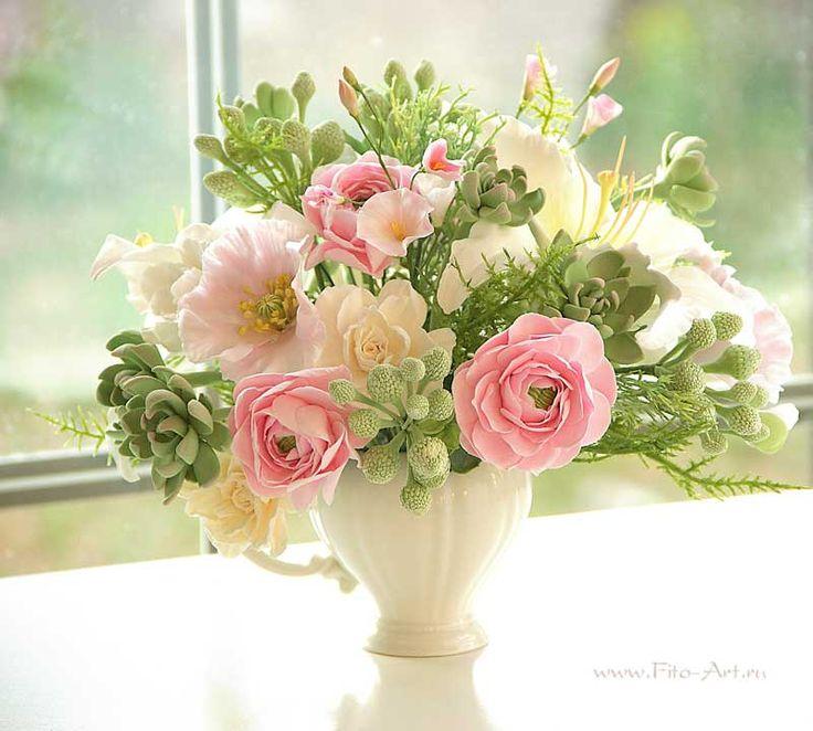 Букет в малом молочнике. Цветы из полимерной глины. Екатерина Звержанская.