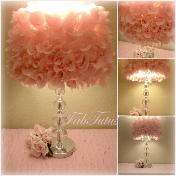 Pink Silk Rose Lamp Shade - Shabby Chic style - new line of decor items by FabTutus - other colors available. $82.50, via Etsy.
