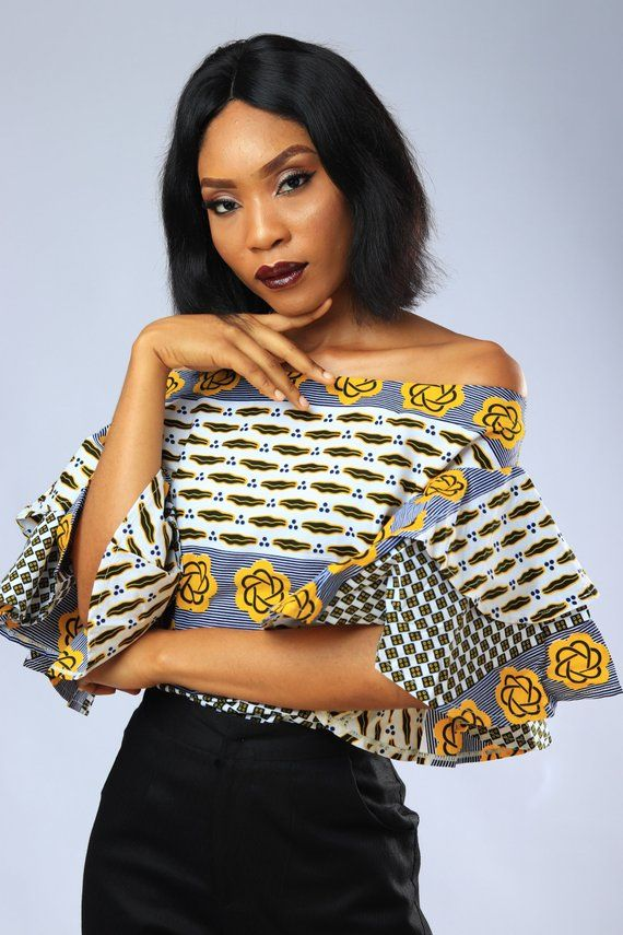 African Inspired Double Flare Ankara Sleeve Blouse for Women 1