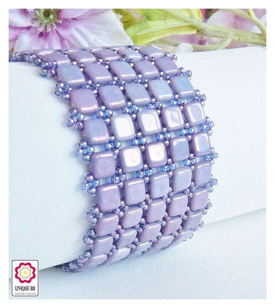 Fioletowa bransoletka z czeskich koralików TILE - Unique-BB - Bransoletki