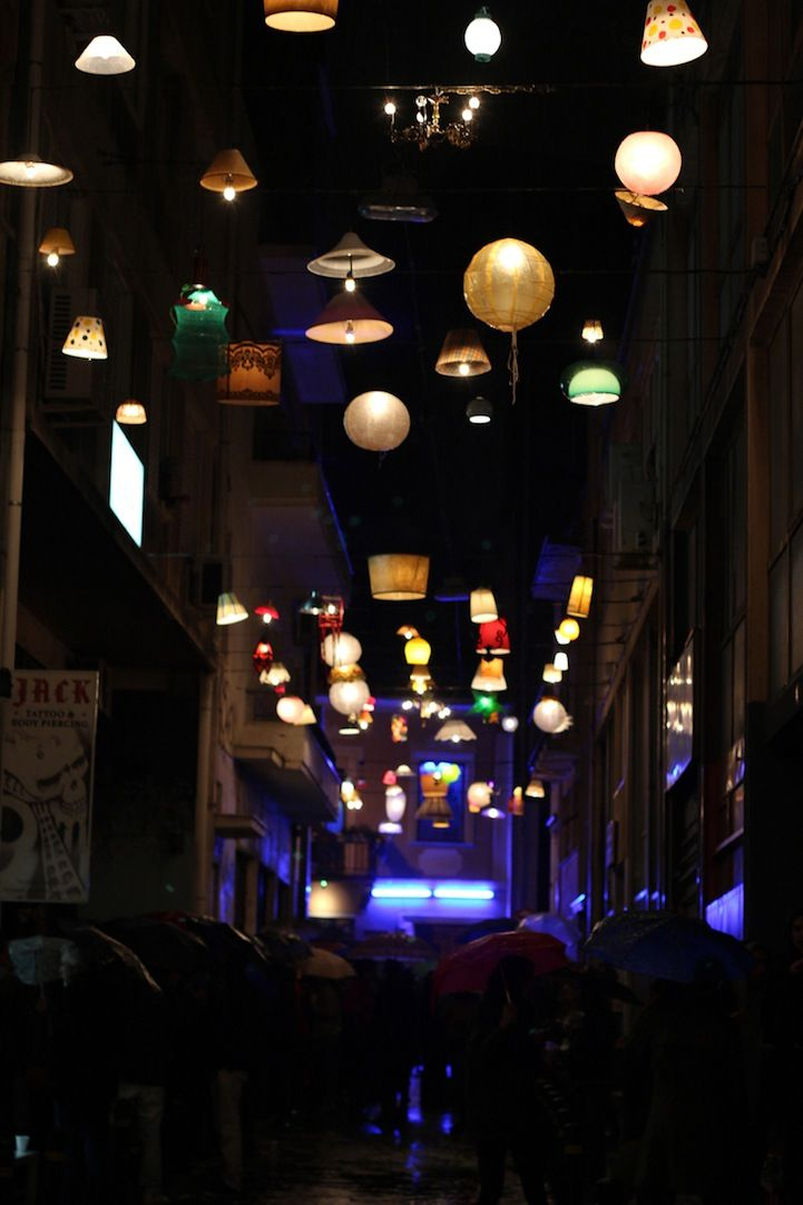 Assorted Light Fixtures Illuminate a Greek City Street & 24 best Alleyway lighting images on Pinterest | Spaces ... azcodes.com