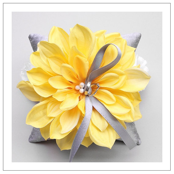 yellow flower on silver silk dupioni wedding ring pillow