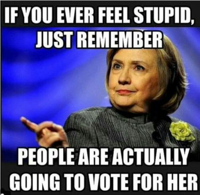 If you ever feel stupid, just remember . . people are actually going to vote for me!  Lol. The idiots!