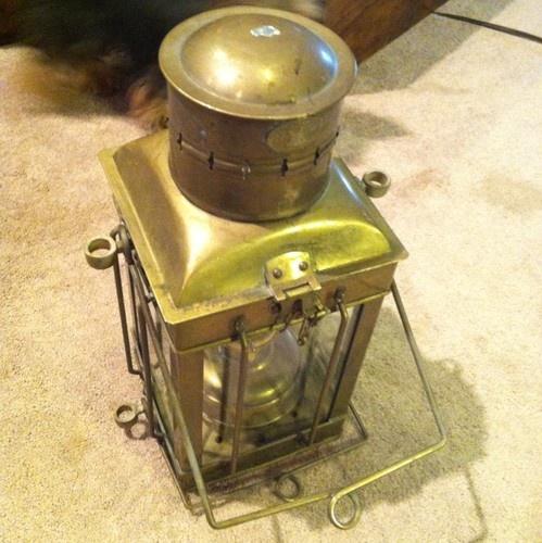 Vintage Brass Amp Glass Neptune Oil Burning Ship Lantern
