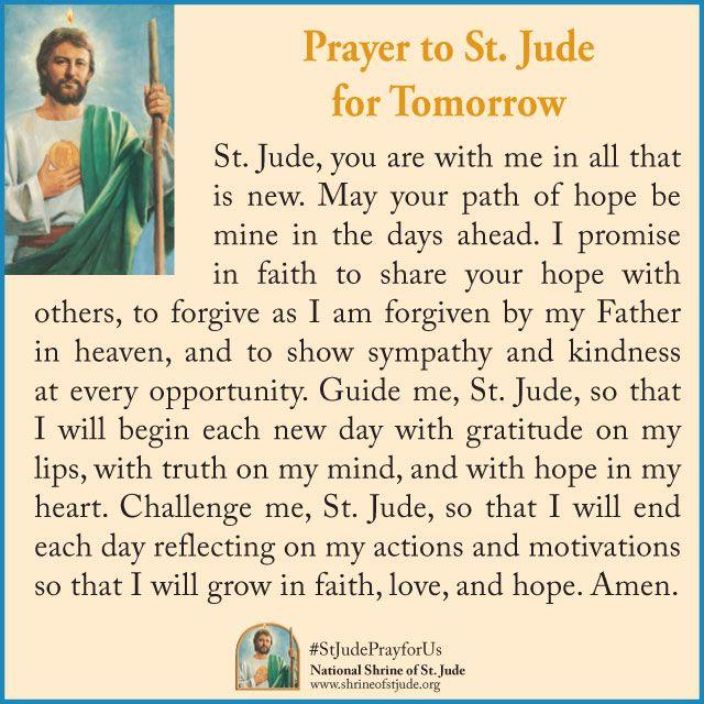 13 best saint jude images on pinterest catholic prayers catholic prayer to st jude for tomorrow thecheapjerseys Choice Image