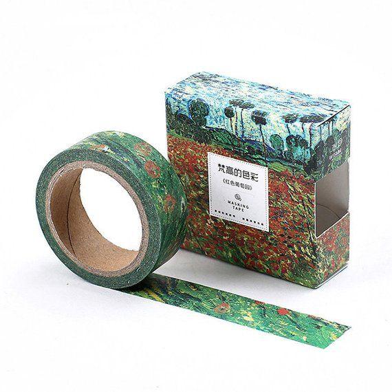Washi Tape Van Gogh Field With Poppies Deco Washi Tape Japanese Masking Tape Planner Stickers Decorative Stickers In 2021 Washi Tape Diy Tape Crafts Masking Tape Diy