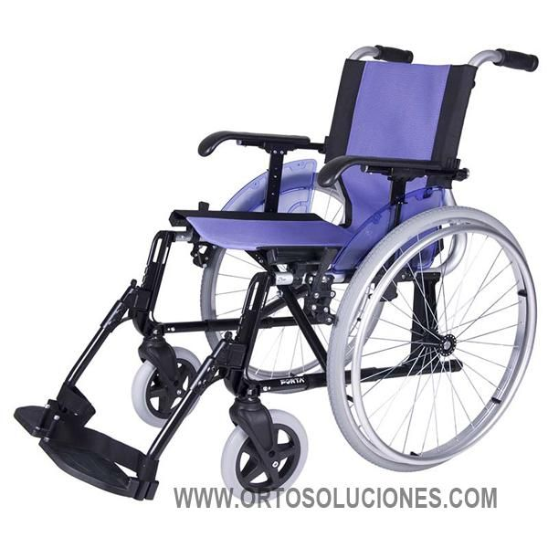 Silla de ruedas de aluminio FORTA LINE, disponible en 5 colores, ruedas traseras de 600 o 300 mm.Fabricadade aluminio no cuenta con ningua soldadura. peso de la silla 13,5 Kg y soporta hasta 140 Kg.