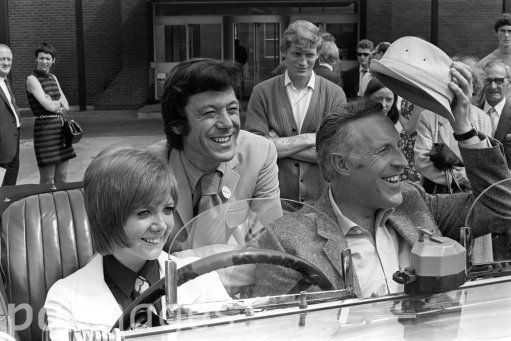 Singer Cilla Black with comedian Bruce Forsyth and choreographer Lionel Blair, centre, during rehearsals at Yorkshire Television studios in Leeds for Forsyth's show.