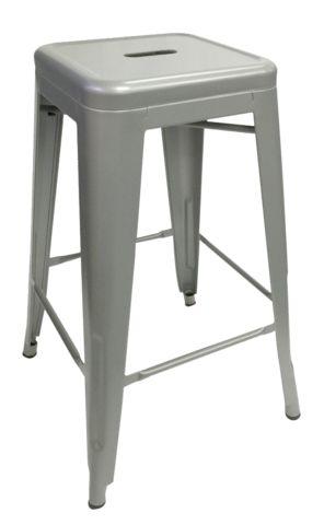 Silver Replica Tolix Stool 66cm