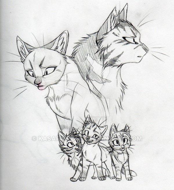 Как нарисовать котов - воителей - поэтапное описание