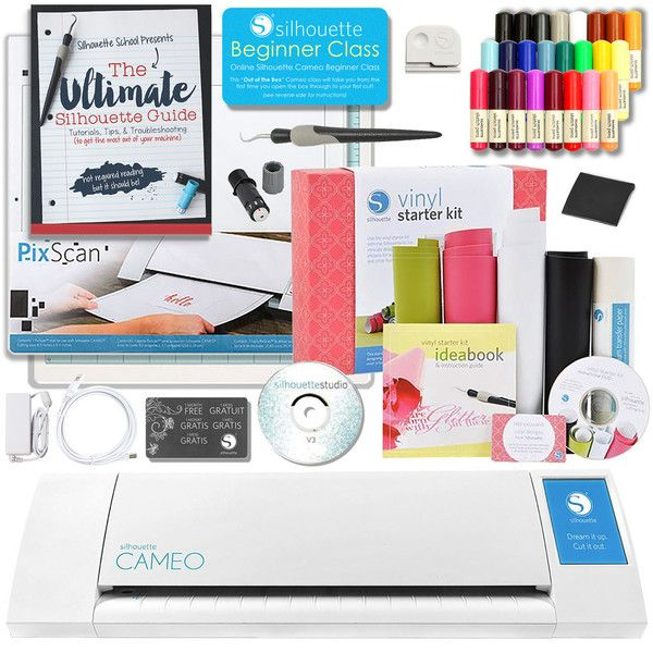 Silhouette Cameo 2 Touch Screen Starter Bundle with The Ultimate Silhouette Guide Book, Vinyl Kit, and Sketch Pen Kit