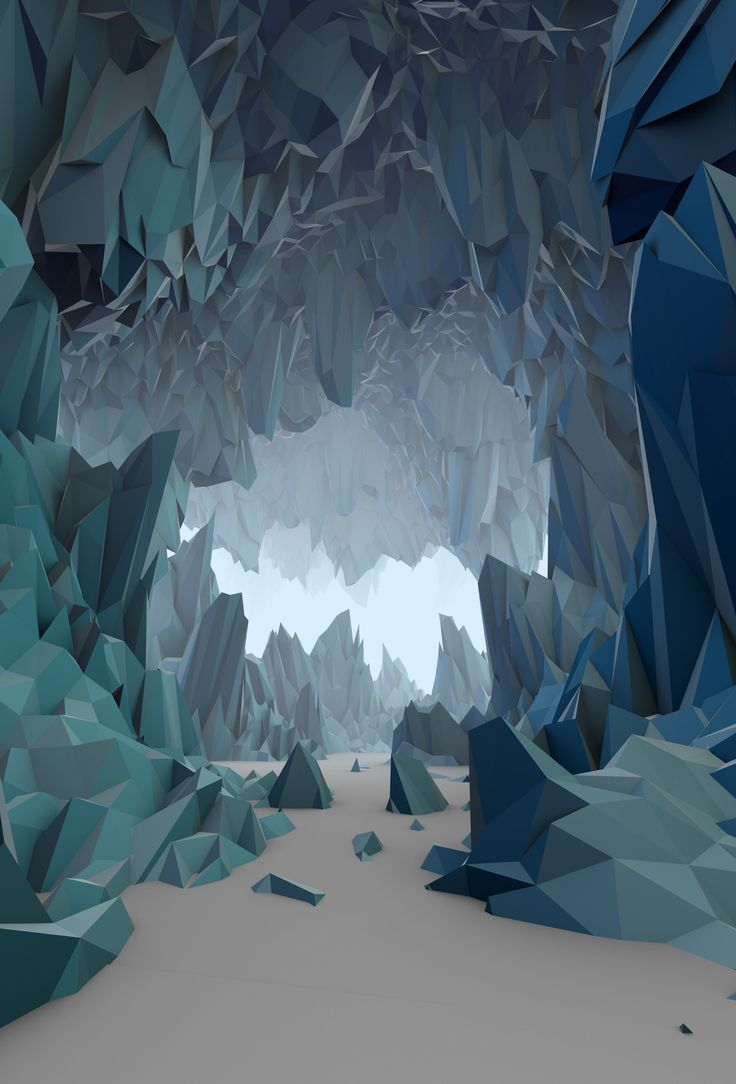 Low Poly stylized cave showing depth and colour