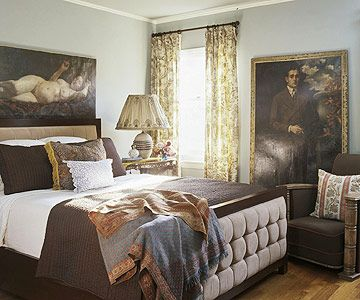 Soft gray blue paired with dark mahogany furniture and for Chocolate brown bedroom furniture