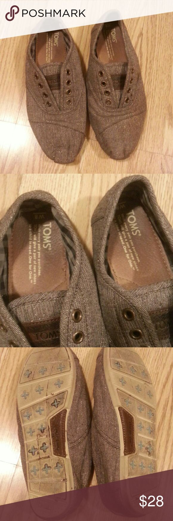 Toms espadrilles Pre owned,signs of use inside, rubber soles,  brown with golden sparkles TOMS Shoes Espadrilles