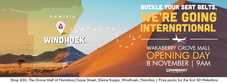 Wakaberry is going international!  We are opening our first international store in Windhoek, Namibia this Saturday, 8 Nov at 9am!