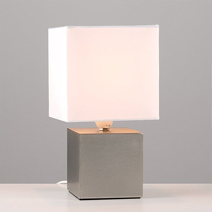 Modern Brushed Chrome Cube Design Touch Dimmer Bedside Table Lamp With A White Fabric Light Shade Amazon Co Uk Lighting Touch Table Lamps Table Lamp Lamp