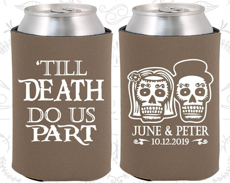 Till Death Do Us Part, Sugar Skull Wedding, Day of the Dead Wedding, Candy Skull Wedding Favors, Dia De Los Muertos Can Koozies (41)