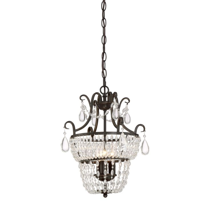 Quoizel Trista 13.6-in 3-Light Oil-Rubbed Bronze Crystal Hardwired Cage Mini Chandelier