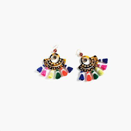 "These dramatic tortoise earrings are hung with colorful fringe tassels that sway when you walk. So now you have a conversation starter for that garden party. <ul><li>Length: 3 1/2"".</li><li>Brass, Swarovzki stones, glass, acetate, poly thread, cotton thread.</li><li>Light gold ox plating.</li><li>French hook ear wires.</li><li>Import.</li></ul>"