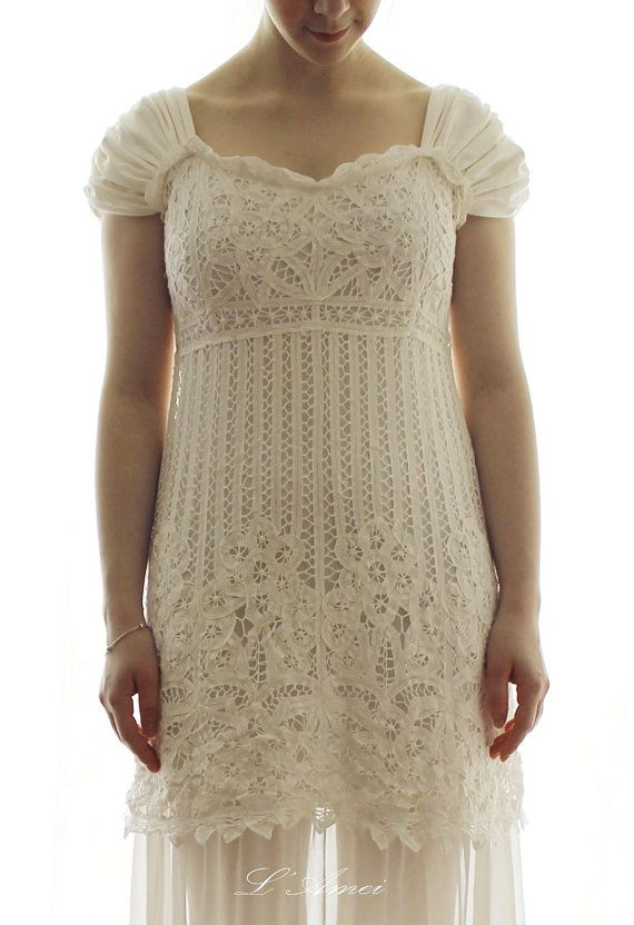 Short Light Weight Ivory Bohemian Cotton Wedding Dress suitable for Beach Wedding