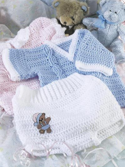 Soft and simple, these tiny garments will dress baby up in style! The mix-and-match pieces coordinate for a truly versatile gift. Size: Child's 6-12 months. Skill level: Beginner