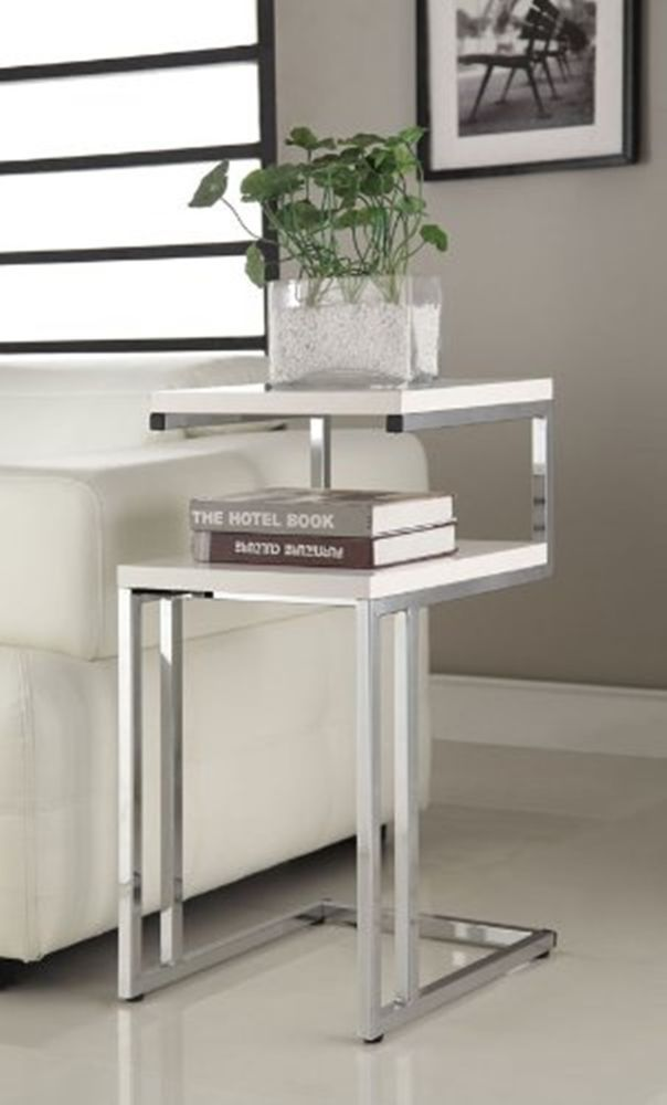 white coffee table end chair side snack book vase home modern furniture chome - White Sofa Table