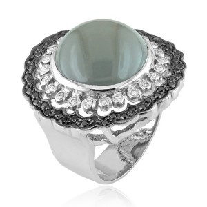 18kt white gold Moonstone ring with black & white diamonds