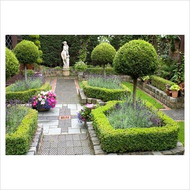 Secluded parterre garden with Buxus sempervirens - Box hedges, Lavandula angustifolia 'Hidcote' and Thuja topiary standards and classical statue - Brocklebank Road, Southport, Lancashire NGS - GAP Photos - Specialising in horticultural photography