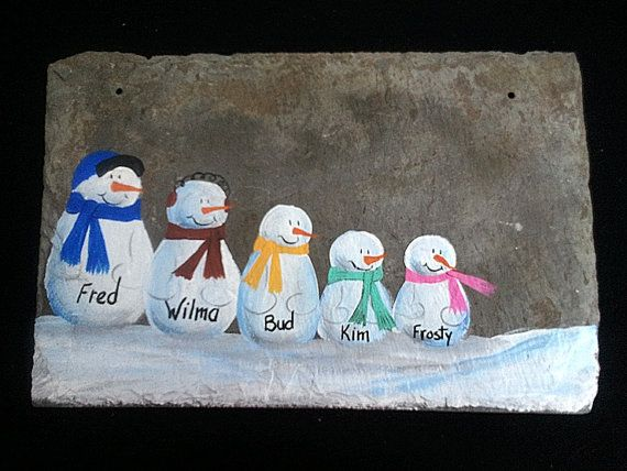 Slate Snowman Sign custom family names personalized by kpdreams,