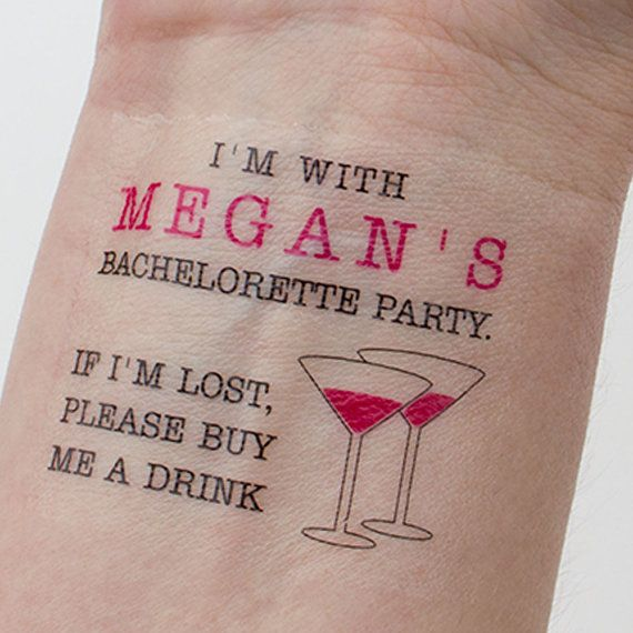 Bachelorette Tattoos Bachelorette Party Temporary Tattoos If lost, buy me a drink Tattoo Pack of 10 on Etsy, $20.00
